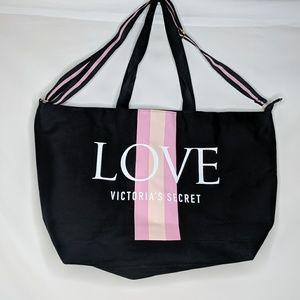 Victoria's Secret Black Zip Weekender Tote Bag